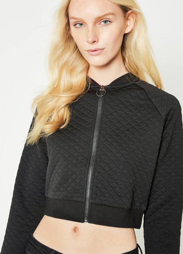 Crop sweatshirt with diamond weave | OVS