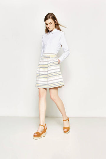 High-waisted skirt with stripes