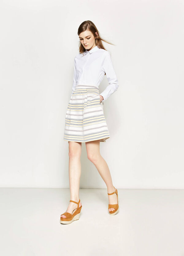 High-waisted skirt with stripes | OVS
