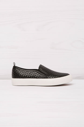 Solid colour slip-ons with woven motif, Black, hi-res
