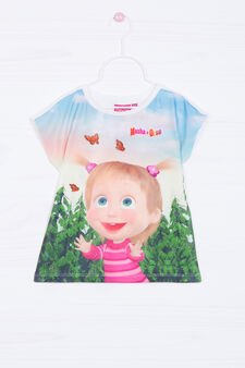 Stretch T-shirt with Masha and the Bear print, White, hi-res