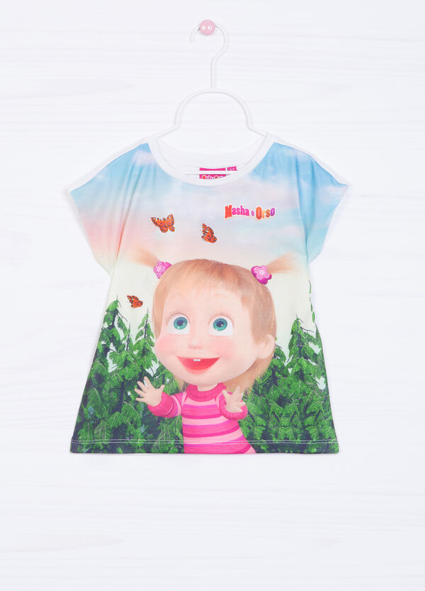 Stretch T-shirt with Masha and the Bear print | OVS
