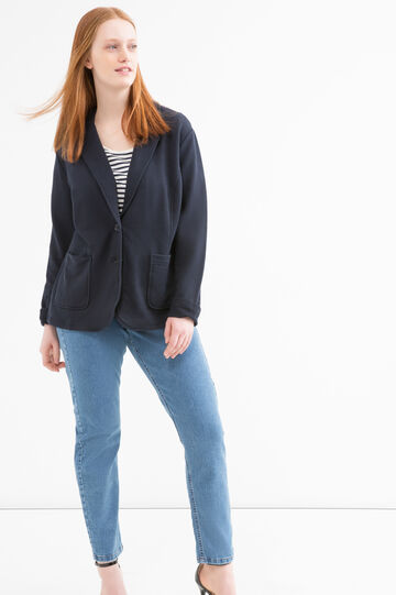 Plain Curvy jacket, Navy Blue, hi-res