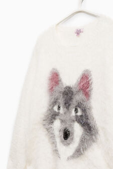 Faux fur pullover with print, White, hi-res