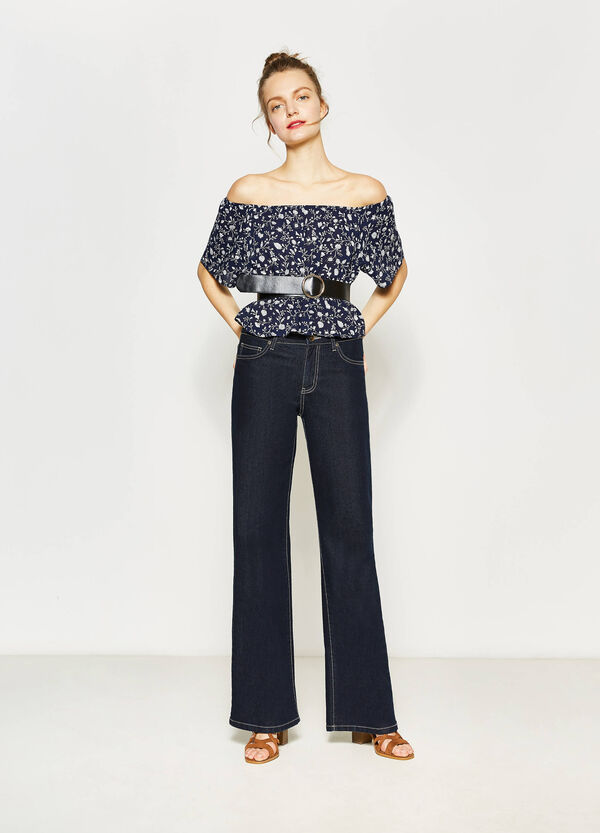 Boat-neck blouse with floral print | OVS