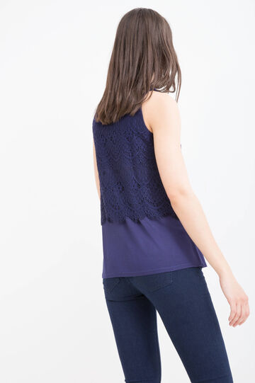 100% viscose top with lace, Blue, hi-res