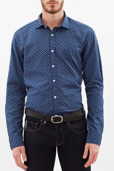 Camicia slim fit puro cotone, Blu navy, hi-res