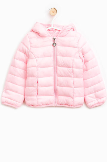 Down jacket with hood and heart-shaped zip pull, Pink, hi-res