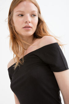 Viscose crop T-shirt, Black, hi-res