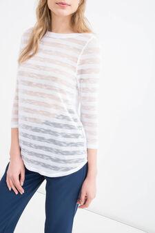 Pullover stretch fantasia a righe, Bianco, hi-res
