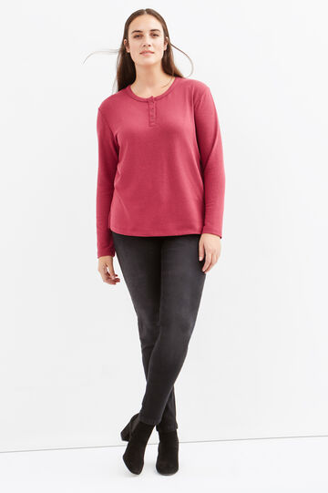 Curvy long-sleeved stretch T-shirt, Light Red, hi-res