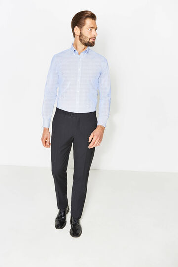 Regular-fit solid colour trousers with crease