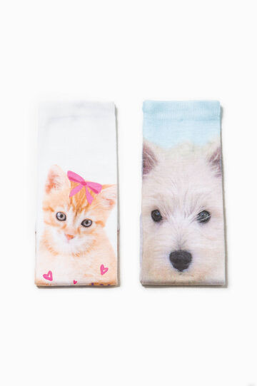 Two-pack short patterned socks, Multicolour, hi-res