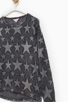 Pullover with star print and studs, Black, hi-res