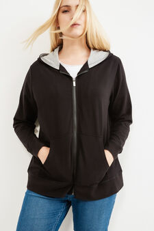 Curvy stretch cotton hoodie, Black, hi-res
