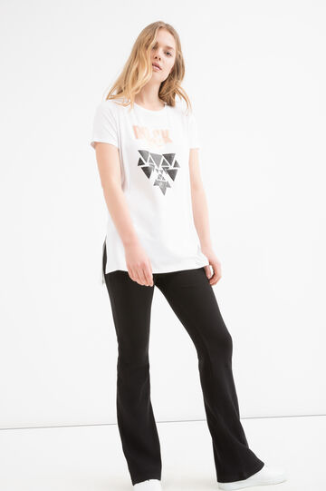 Printed stretch viscose T-shirt, White, hi-res