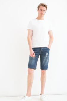Straight-fit worn denim Bermuda shorts, Denim, hi-res