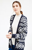 Patterned knitted cardigan, White/Blue, hi-res