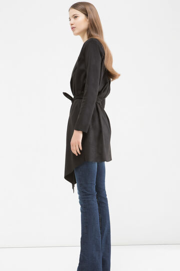 Stretch suede trench coat, Black, hi-res