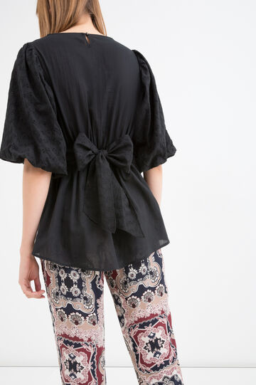 Cotton blouse with bow on the back, Black, hi-res