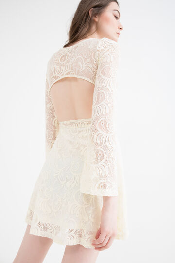 Lace dress with opening on the back, Ivory White, hi-res