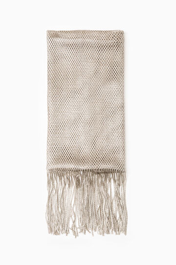 100% viscose scarf with fringing, Grey, hi-res