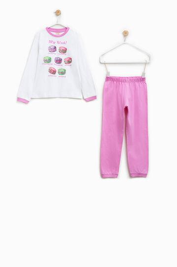 100% Biocotton pyjama with round neck, White/Pink, hi-res