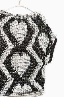 Wool blend patterned pullover, White/Black, hi-res