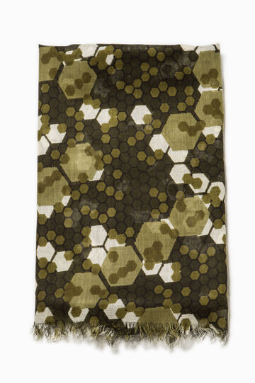 100% viscose patterned scarf, Army Green, hi-res