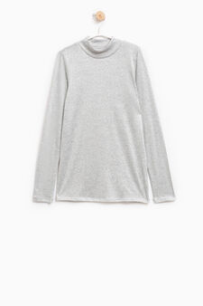 Long-sleeved stretch T-shirt with lurex, Grey, hi-res