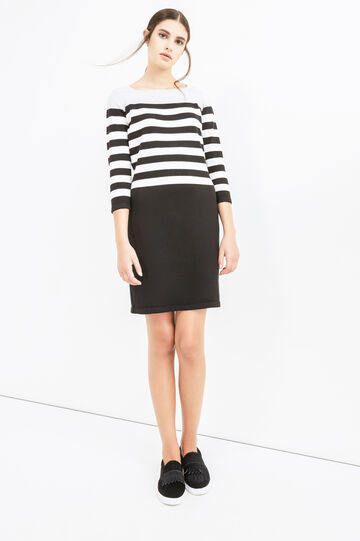 Stretch cotton dress with striped pattern, Black/White, hi-res