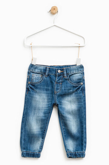 Worn-effect jeans with whiskering and fading, Denim, hi-res