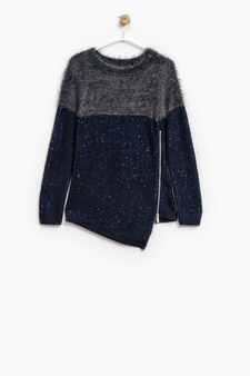 Solid colour pullover with sequins., Grey/Blue, hi-res