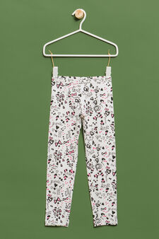 Patterned leggings in stretch cotton, White, hi-res