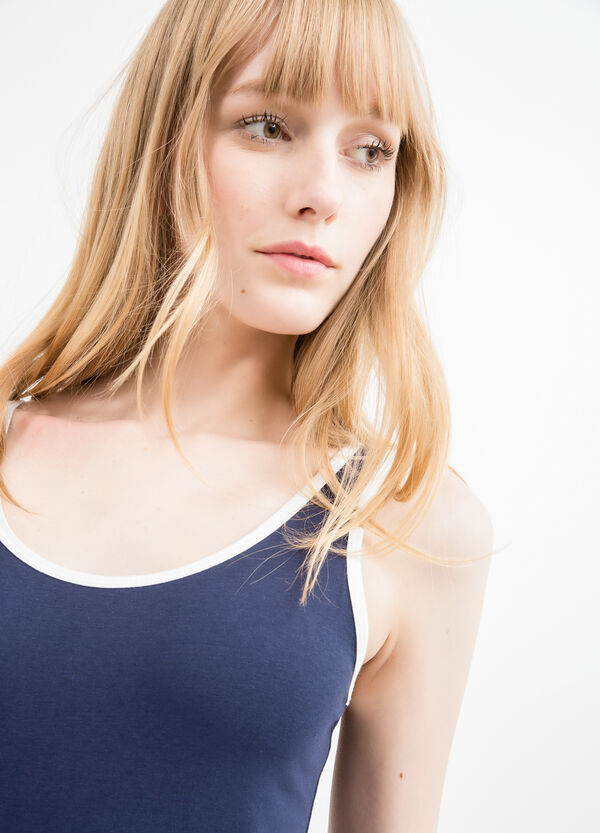 Stretch cotton top with edging in contrasting colour | OVS