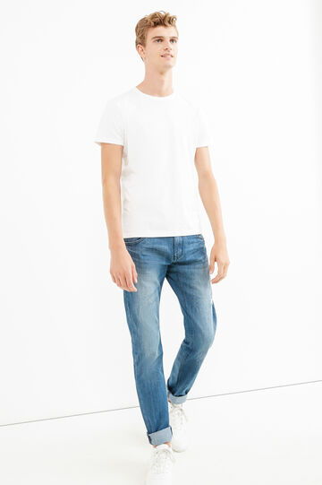 Slim-fit, worn-effect, faded jeans