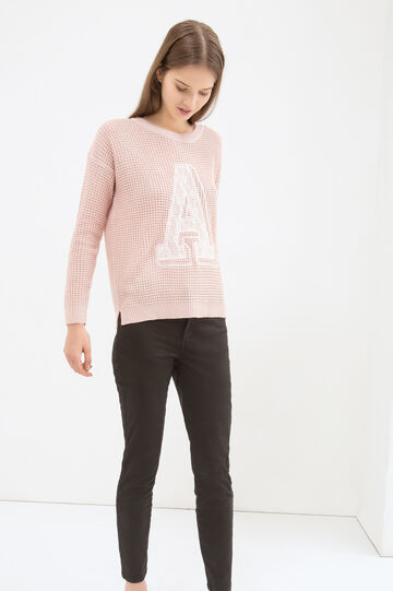Knitted pullover with contrasting colour print, Pink, hi-res