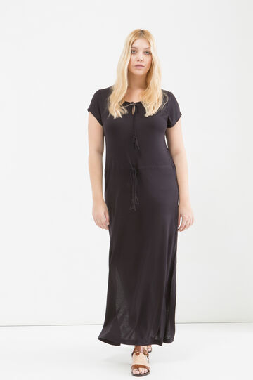 Curvy viscose jersey long dress, Black, hi-res
