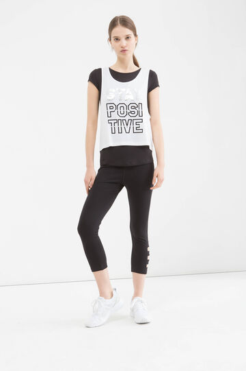 T-shirt sportiva viscosa stretch, Bianco/Nero, hi-res