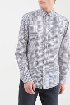 Patterned shirt in cotton., White/Blue, hi-res