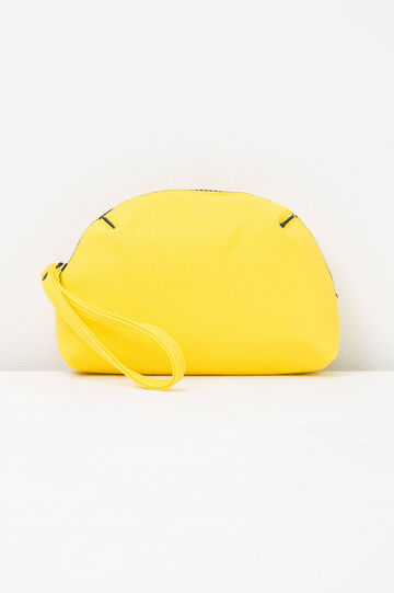 Solid colour clutch with zip, Yellow, hi-res