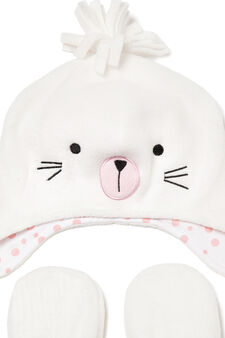 Hat and mittens set, White, hi-res