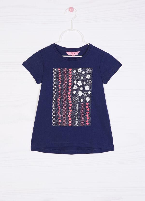 T-shirt cotone stampa glitterata | OVS