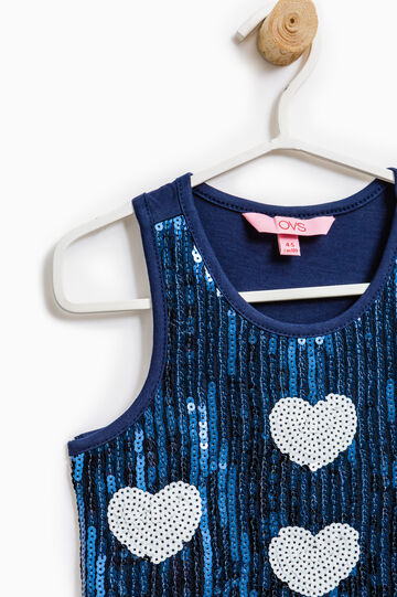 100% cotton sequinned top, Blue, hi-res
