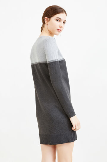 Viscose blend dress with long sleeves, Grey, hi-res
