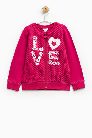 Sweatshirt in stretch cotton with printed lettering, Fuchsia, hi-res