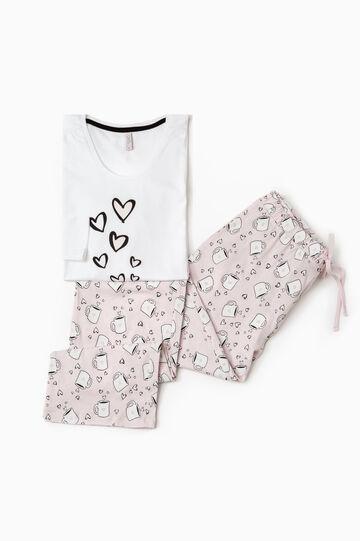 Printed pyjamas in 100% cotton, White/Pink, hi-res