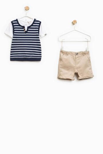 Completo t-shirt finto doppio e bermuda