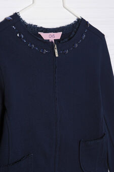 Jacket in stretch cotton fleece, Blue, hi-res