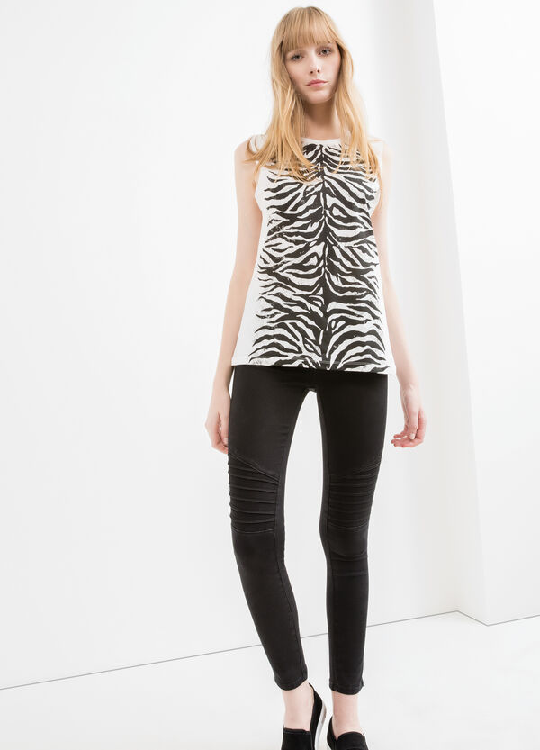 Long 100% cotton top with print | OVS